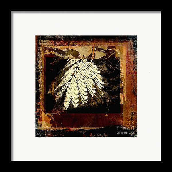 Mixed Media Digital Collage Framed Print featuring the mixed media Mimosa Leaf Collage by Ann Powell