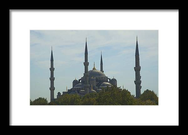 Blue Mosque Framed Print featuring the photograph Minarets by Cheri Randolph