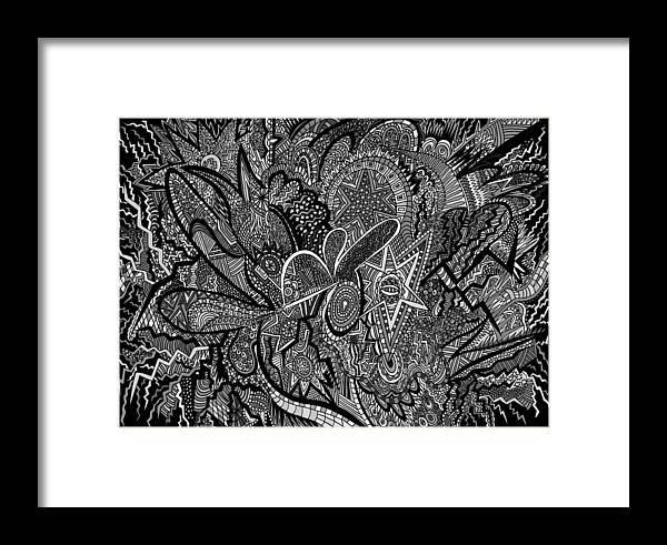 New Framed Print featuring the drawing Mind Map by Karen Elzinga
