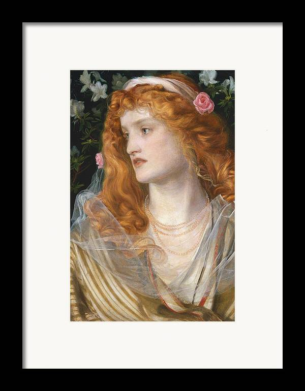 Pre-raphaelite; Victorian; Female; Veil; Auburn; Redhead; Red-haired; Heroine; The Tempest; Shakespeare; Literature Framed Print featuring the painting Miranda by AFA Sandys