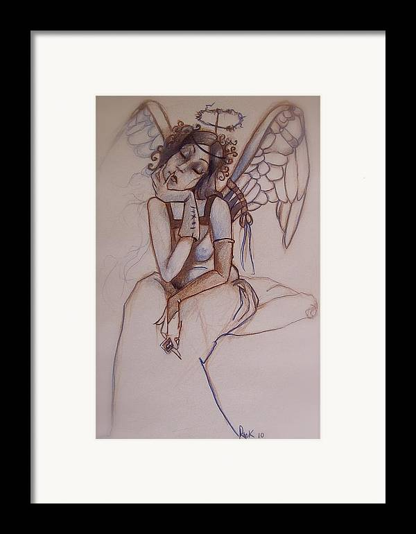 Angel Blues Framed Print featuring the drawing Missing Him by Jackie Rock