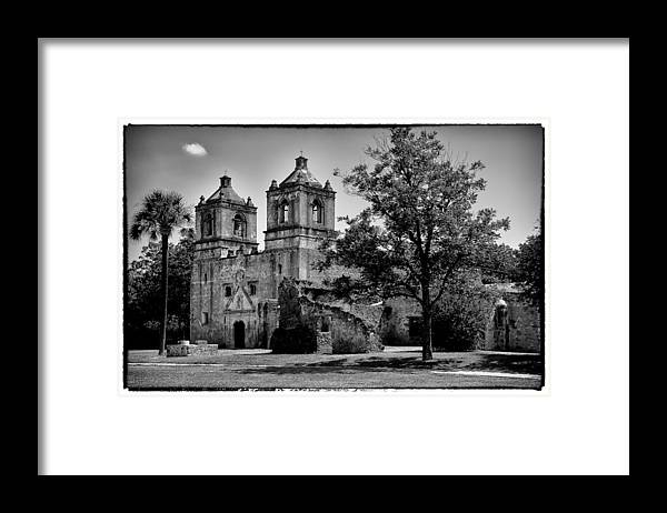 Conception Framed Print featuring the photograph Mission Conception BW by Scott Massey