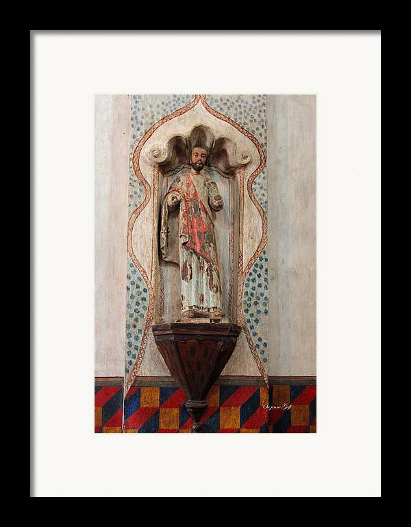 Mission San Xavier Del Bac Framed Print featuring the photograph Mission San Xavier Del Bac - Interior Sculpture by Suzanne Gaff