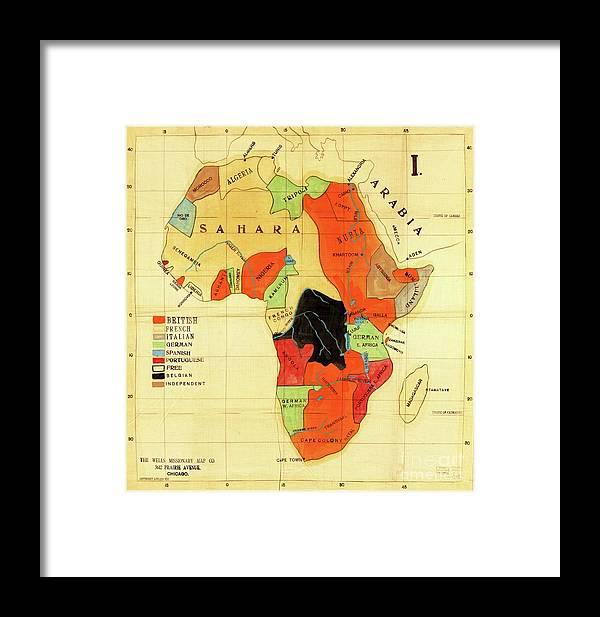 Reproduction Framed Print featuring the drawing Missionary Map Of Africa by Roberto Prusso