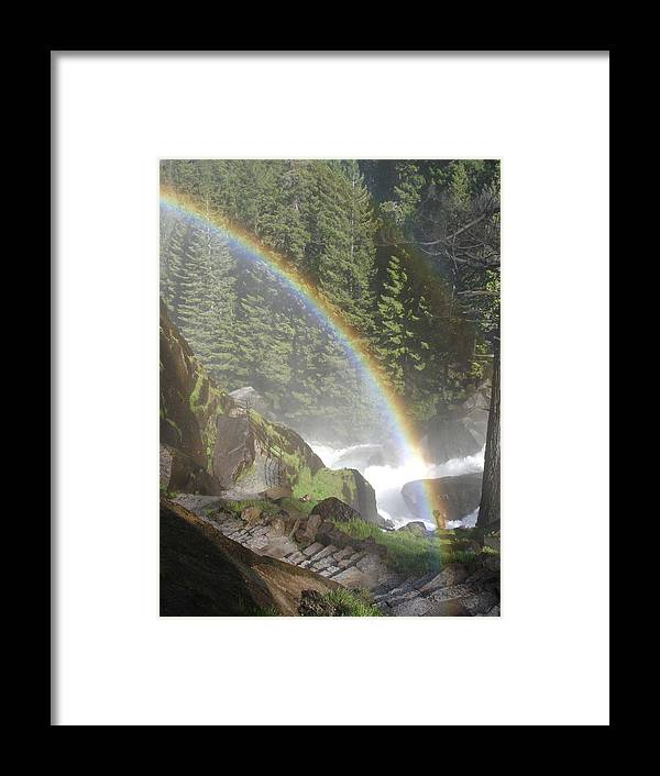 Yosemite Framed Print featuring the photograph Mist Trail Rainbow by Cyndi Combs