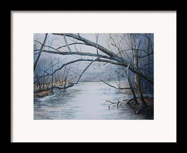 River Framed Print featuring the painting Misty Morning On The Red River by Patsy Sharpe