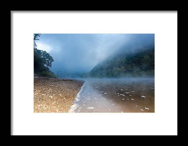 Delaware Water Gap Framed Print featuring the digital art Misty River by Mauricio Fernandez