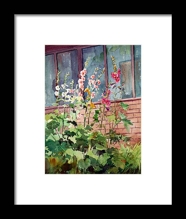 Peter Sit Watercolor Framed Print featuring the painting Mixed Hollyhock by Peter Sit