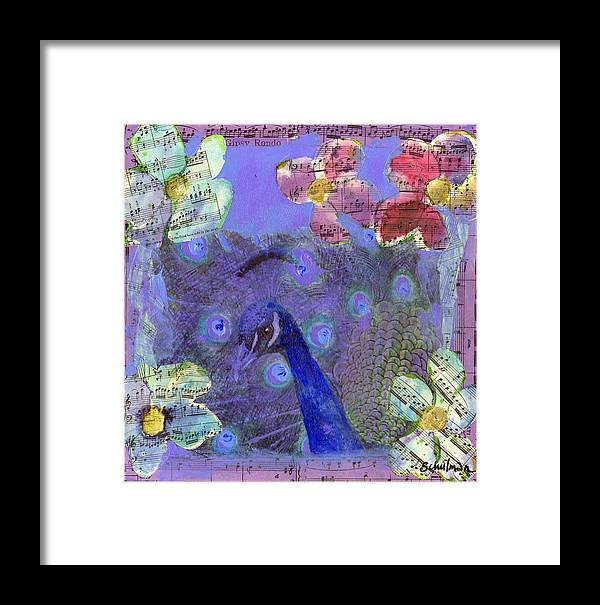 Art Framed Print featuring the painting Mixed Media Peacock Art - Gipsy Rondo by Miriam Schulman