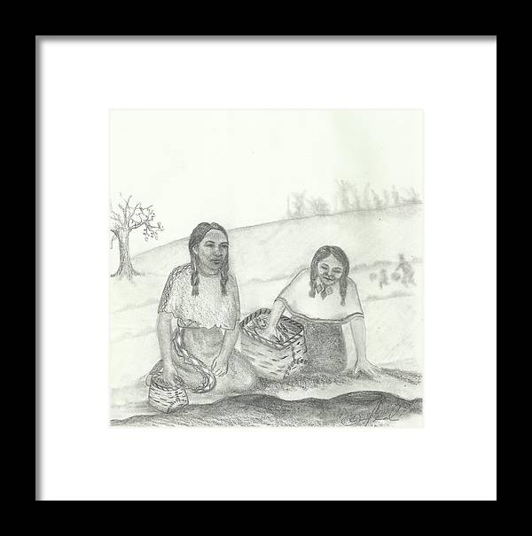 Drawing Framed Print featuring the drawing Mnokme Gtegedan by Candi Wesaw