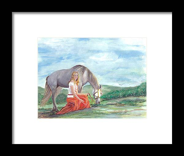 Horse Framed Print featuring the painting Modern Ayla by Barbi Holzmann
