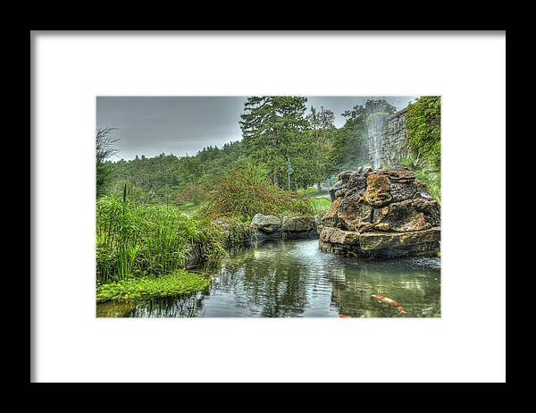 Koi Framed Print featuring the photograph Mohonk Koi Pond on a Rainy Day by Donna Lee Blais