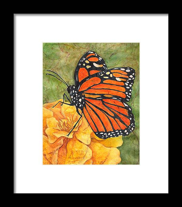 Monarch Framed Print featuring the drawing Monarch On Marigold by Sara Bell