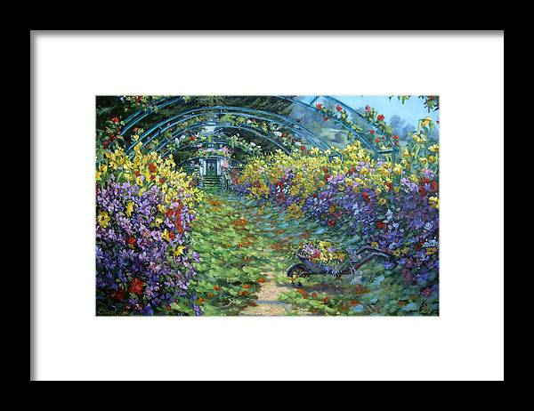 Claude Monets Garden In Fall Framed Print featuring the painting Monet's Autumn by L Diane Johnson