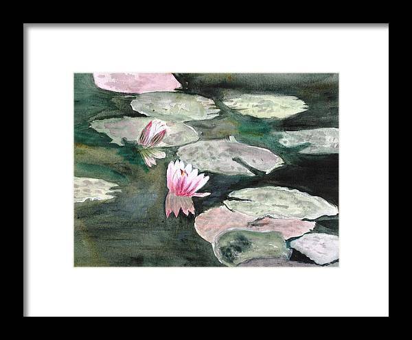 Monet Framed Print featuring the painting Monet's Lily Pads by Donna Walsh