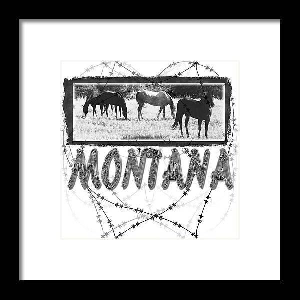 Montana Art Framed Print featuring the digital art Montana Horse Design by Susan Kinney