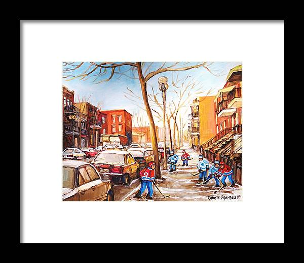 Montreal Street Scene With Boys Playing Hockey Framed Print featuring the painting Montreal Street With Six Boys Playing Hockey by Carole Spandau