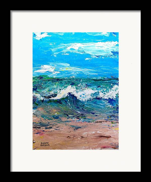 Moody Beach Framed Print featuring the painting Moody Beach In A Mood by Scott Nelson