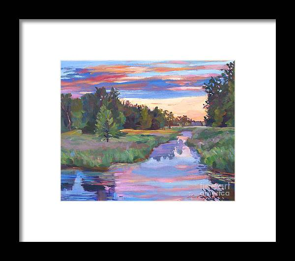 Landscape Framed Print featuring the painting Moody River by David Lloyd Glover