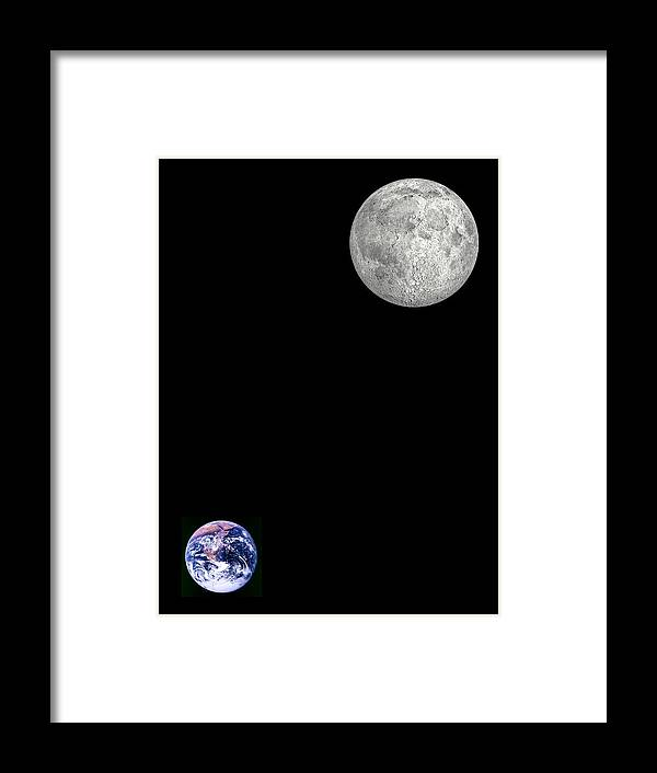 Earth Framed Print featuring the photograph Moon And Earth by Laguna Design