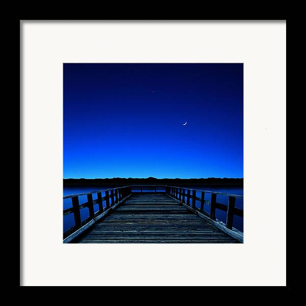 Square Framed Print featuring the photograph Moon And Venus In The Blue by Carlos Gotay
