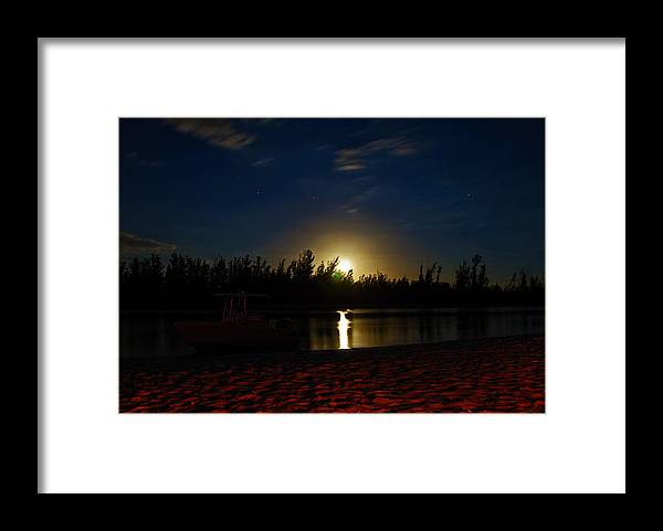 Moonrise Framed Print featuring the photograph Moon Beam - Fire Glow by Christine Stonebridge