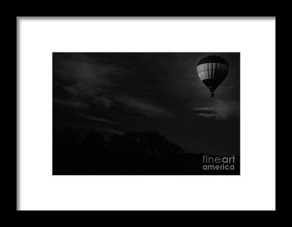 Hot Air Balloon Framed Print featuring the mixed media Moon Light Flight by Kim Henderson