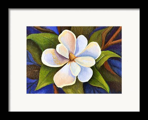 Magnolia Framed Print featuring the painting Moon Light Magnolia by Elaine Hodges