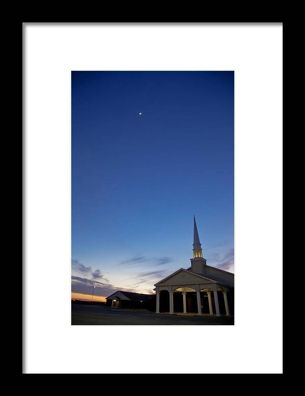 Sunset Framed Print featuring the photograph Moon over steeple at New Hope Baptist Church West Duncan Oklahoma by Toni Hopper