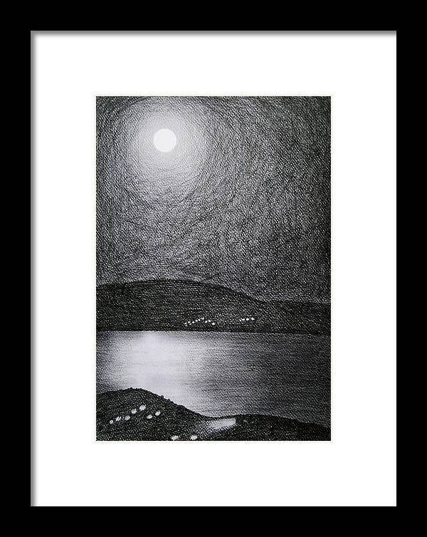 Moon Framed Print featuring the drawing Moon Reflection On The Sea by Ana Leko Nikolic