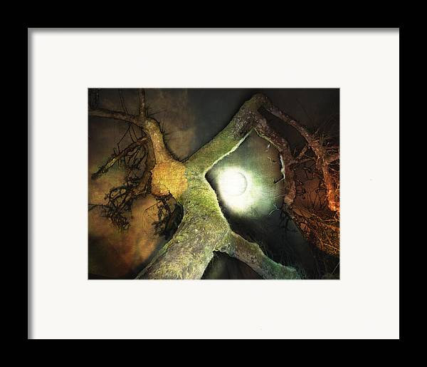 Moon Framed Print featuring the mixed media Moon Song by Janet Kearns