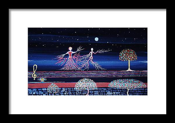 Art Painting Moonlight Night Kunst Light Stars Sky Dancer Dance Art-gallery Fantasy Collectors Landscape Moon Music Composition Online Key Melody Harmony Love Life Blue Red Colour Tree Garden Flowers Note Arte Fineart Framed Print featuring the painting Moonlove Dance by Farshad Sanaee The Apple
