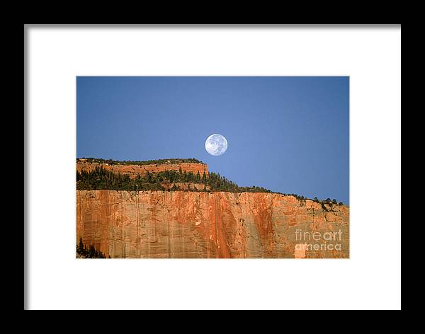 Zion National Park Framed Print featuring the photograph Moonrise Over East Temple - Zion by Sandra Bronstein