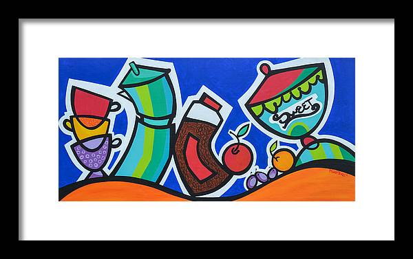 Food And Beverages Framed Print featuring the painting Morning Energy by Mary Tere Perez