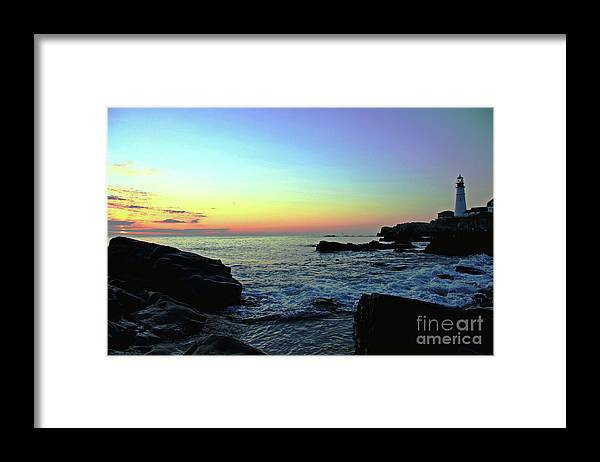 Portland Headlight Framed Print featuring the photograph Morning Glow by Brenda Giasson