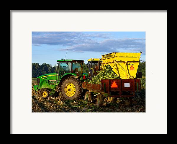 John Deere Framed Print featuring the photograph Morning Harvest by Tim Fitzwater