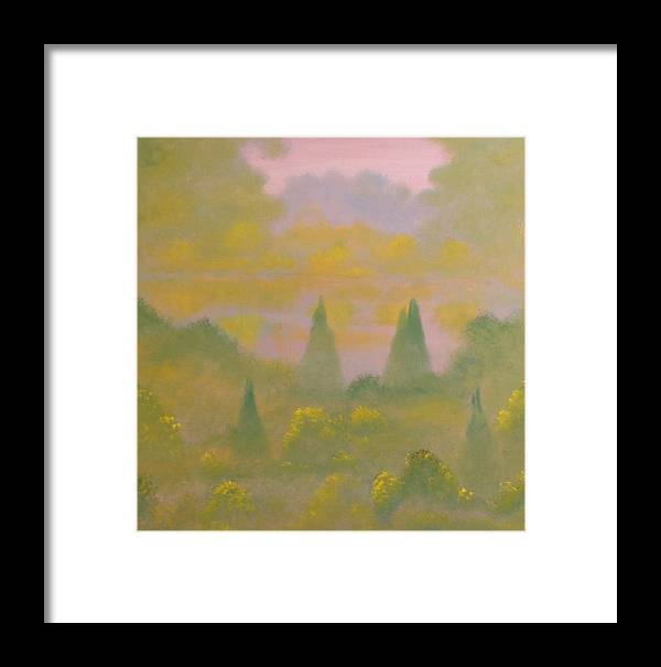 Landscape Framed Print featuring the painting Morning Mist Over Lake by David Snider