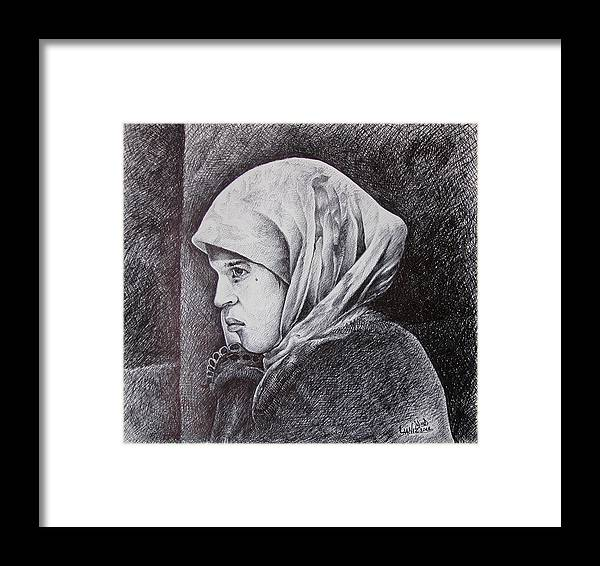 Morocan Girl Framed Print featuring the drawing Morocan Girl by Fouad Laaniz