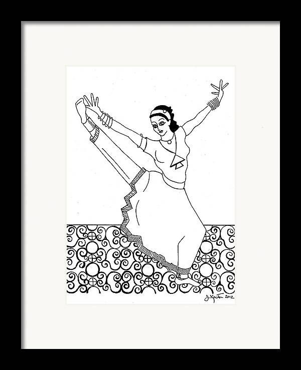 Moroccan Dancer Framed Print featuring the drawing Moroccan Dancer by John Keaton