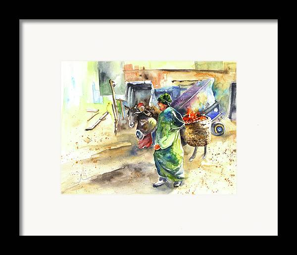 Travel Framed Print featuring the painting Morrocan Market 04 by Miki De Goodaboom