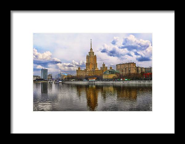 Landscape Waterscape Architecture Moscow River Russia Framed Print featuring the photograph Moscow View by Gennadiy Golovskoy