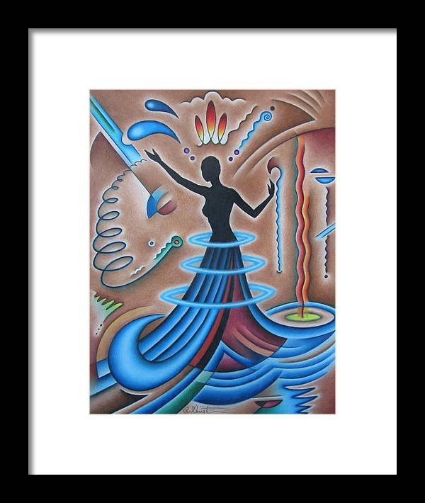 Abstract Framed Print featuring the drawing Mother Earth by Joe Christensen