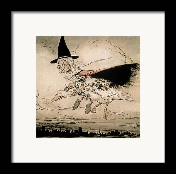 Mother Goose Framed Print featuring the painting Mother Goose Frontispiece Of 'mother Goose The Old Nursery Rhymes by William Heineman