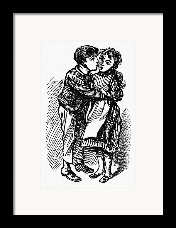 19th Century Framed Print featuring the photograph Mother Goose: Kiss by Granger