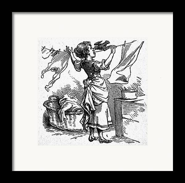 19th Century Framed Print featuring the photograph Mother Goose: Maid by Granger