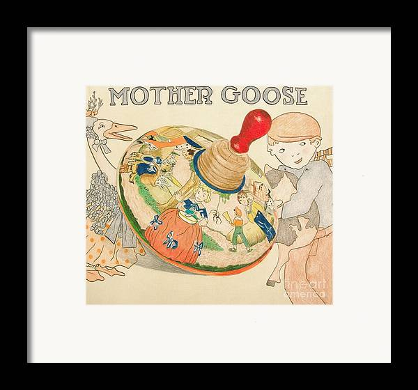 Toy Framed Print featuring the drawing Mother Goose Spinning Top by Glenda Zuckerman