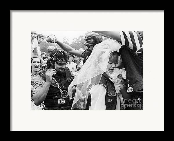 1969 Framed Print featuring the photograph Motorcycle Club Wedding by Granger