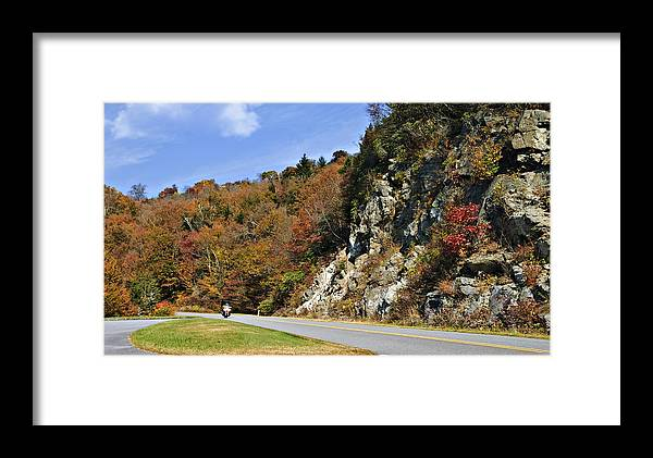Highway Framed Print featuring the photograph Motorcycle On The Highway by Susan Leggett