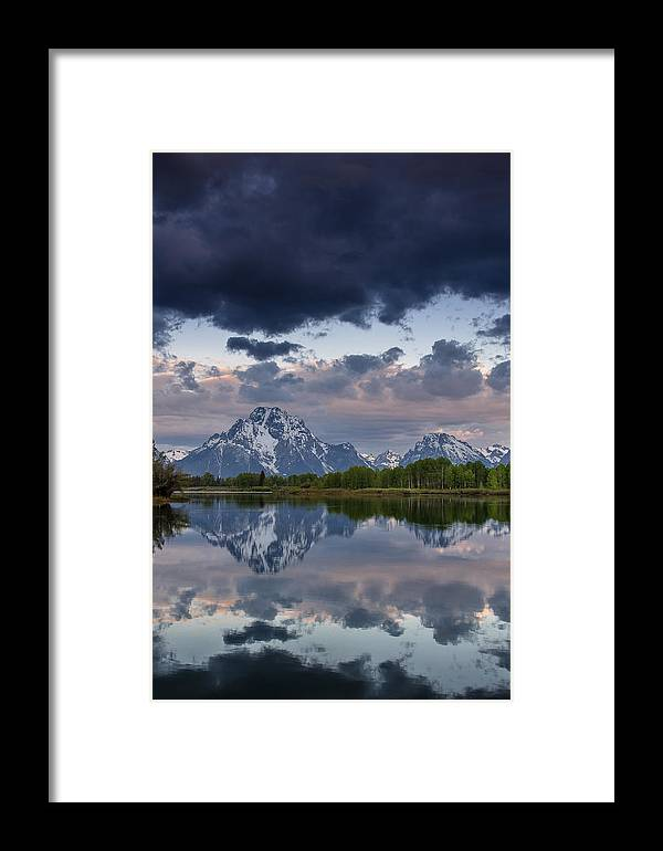 Grand Tetons National Park Framed Print featuring the photograph Mount Moran Under Black Cloud by Greg Nyquist