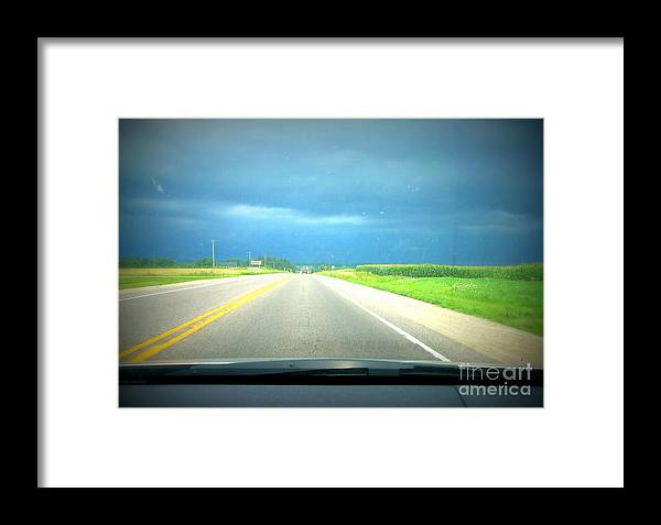 Window Framed Print featuring the painting Moving Along Driver Seat View by Alex Blaha